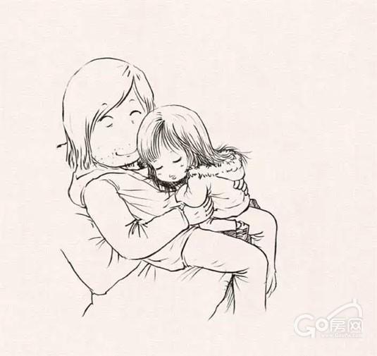 体现母爱手绘画