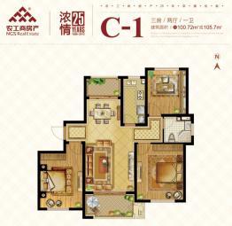 C-1户型三房两厅一卫