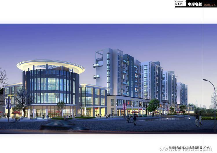 紫荆苑商业街入口夜景透视图