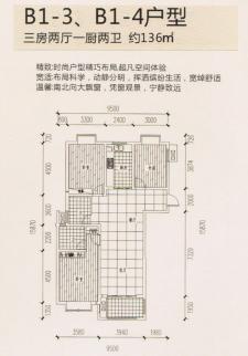 B1-3、B1-4户型三房两厅两卫